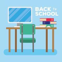 terug naar school-letters met computer en boeken vector