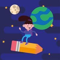 klein studentenmeisje dat in een potlood vliegt vector