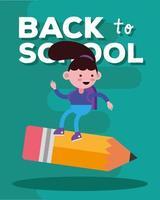 schattig terug naar schoolbanner met studentenmeisje vector