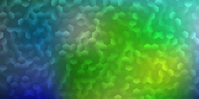 lichtblauwe, groene vectoromslag met eenvoudige zeshoeken. vector