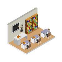 isometrische universitaire kamer op witte achtergrond