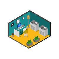isometrische kantoorruimte op witte achtergrond