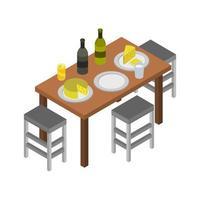 isometrische keukentafel op witte achtergrond vector
