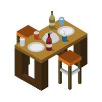 isometrische keukentafel op witte achtergrond