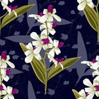 naadloze patroon botanische roze-witte orchideebloemen op abstracte donkerblauwe achtergrond. vector illustratie tekening aquarel stijl. voor gebruikt behangontwerp, textielstof of inpakpapier.