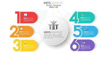 infograph 6-staps kleurenelement met cirkel grafisch grafiekdiagram, bedrijfsgrafiekontwerp. vector
