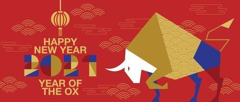 gelukkig nieuwjaar, chinees nieuwjaar, 2021, jaar van de os, gelukkig nieuwjaar, plat ontwerp