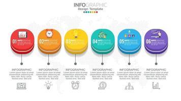 infographics met 6 opties van 3D-kubussen en iconen van grafieken en instellingen vector