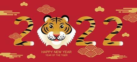 gelukkig nieuwjaar, chinees nieuwjaar, 2022, jaar van de tijger, stripfiguur, royale tijger, plat ontwerp