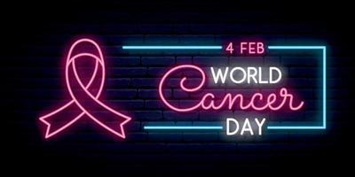 Werelddag voor kanker. lange horizontale banner.