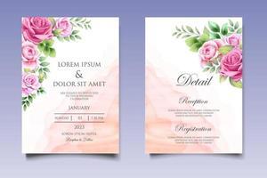 bruiloft uitnodigingskaart met prachtige bloemen en bladeren vector