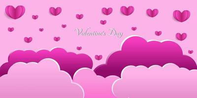 gelukkige Valentijnsdag hart achtergrond in papier gesneden stijl