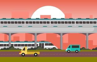 spoorweg spoorweg kant openbaar vervoer forenzen metro trein landschap illustratie