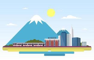 spoorweg openbaar vervoer forenzen metro treinstation vlakke afbeelding