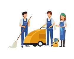 huishoudteam met reinigingsapparatuur vector