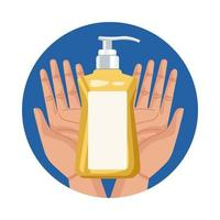 handen die antibacteriële zeepfles opheffen vector