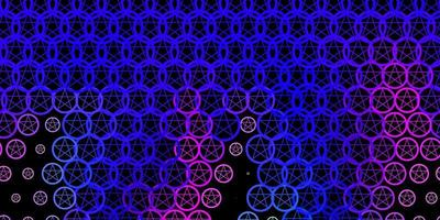 donkerroze, blauwe vectorachtergrond met mysteriesymbolen. vector