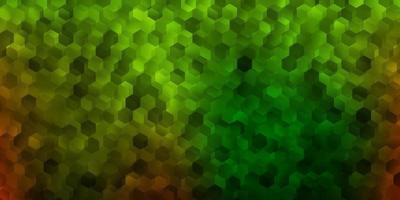 donkergroene, gele vectorachtergrond met een partij zeshoeken. vector