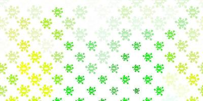 lichtgroene, gele vectorachtergrond met covid-19 symbolen. vector