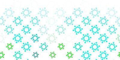 lichtblauwe, groene vectorachtergrond met virussymbolen. vector