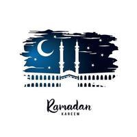 ramadan kareem. silhouet van een moskee op een heilige nacht. vector