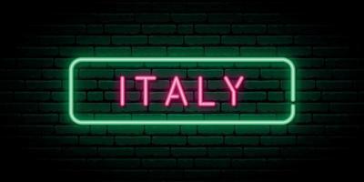 Italië neon teken. helder licht uithangbord. vector