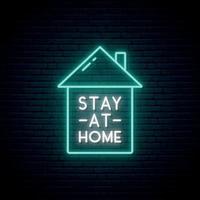 blijf thuis neon uithangbord vector
