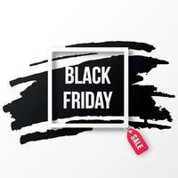 zwarte vrijdag verkoop poster met zwarte marker textuur op witte achtergrond met vierkant frame. vector