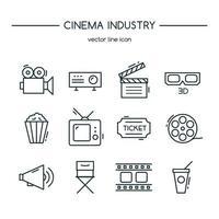 tv-industrie pictogrammen lijn set. vector illustratie.