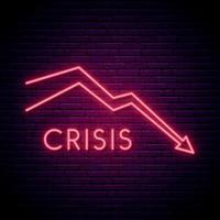 rode pijl neon teken. eenvoudig economisch crisisontwerp in neonstijl.