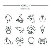 circus pictogrammen lijn ingesteld. vector illustratie.
