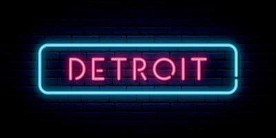 Detroit neon teken. helder licht uithangbord vector