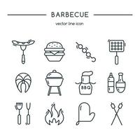 barbecue pictogrammen lijn set. vector illustratie.