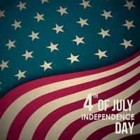 retro banner met Amerikaanse vlag en tekst. 4 juli onafhankelijkheidsdag. vector begroeting achtergrond.