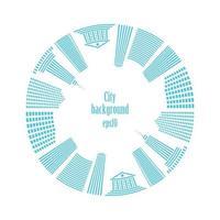 stad in cirkel. gebouwen rondom.