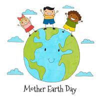 Leuke aarde met drie kinderen en wolken rond vector