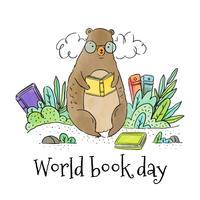 Cute Bear Reading Book zitplaatsen rond bladeren en boeken vector