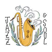 Saxofoon met bladeren rond en belettering vector