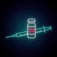 neon uithangbord met vaccin tegen covid 19 vector