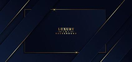 abstracte sjabloon blauw frame strepen gouden lijnen diagonale overlapping achtergrond. luxe stijl. vector