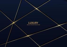 abstracte donkerblauwe luxeachtergrond met gouden lijndiagonaal. vector