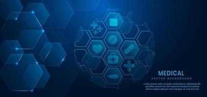 abstracte blauwe zeshoek patroon achtergrond. medisch en wetenschappelijk concept en gezondheidszorg pictogram patroon. vector