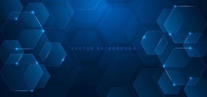 abstract technologie futuristisch zeshoek overlappend patroon met blauw lichteffect op donkerblauwe achtergrond.