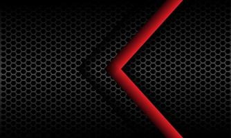 abstracte rode pijl richting op donkergrijs metallic zeshoek mesh patroon ontwerp moderne futuristische achtergrond vectorillustratie. vector