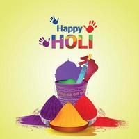 happy holi flat met kleur modderpot vector