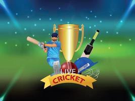 crickettoernooi wedstrijdconcept met stadion- en cricketapparatuur vector