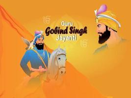 goeroe gobind singh jayanti sikh dasam goeroe celebratrion vector