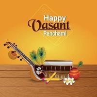 vasant panchami-wenskaart met veena en boeken vector