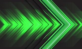 abstract groen licht pijl snelheid energie op zwart ontwerp moderne futuristische achtergrond technologie vectorillustratie. vector