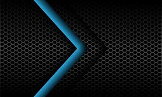 abstracte blauwe pijl richting op donkergrijs metallic zeshoek mesh patroon ontwerp moderne futuristische achtergrond vectorillustratie. vector